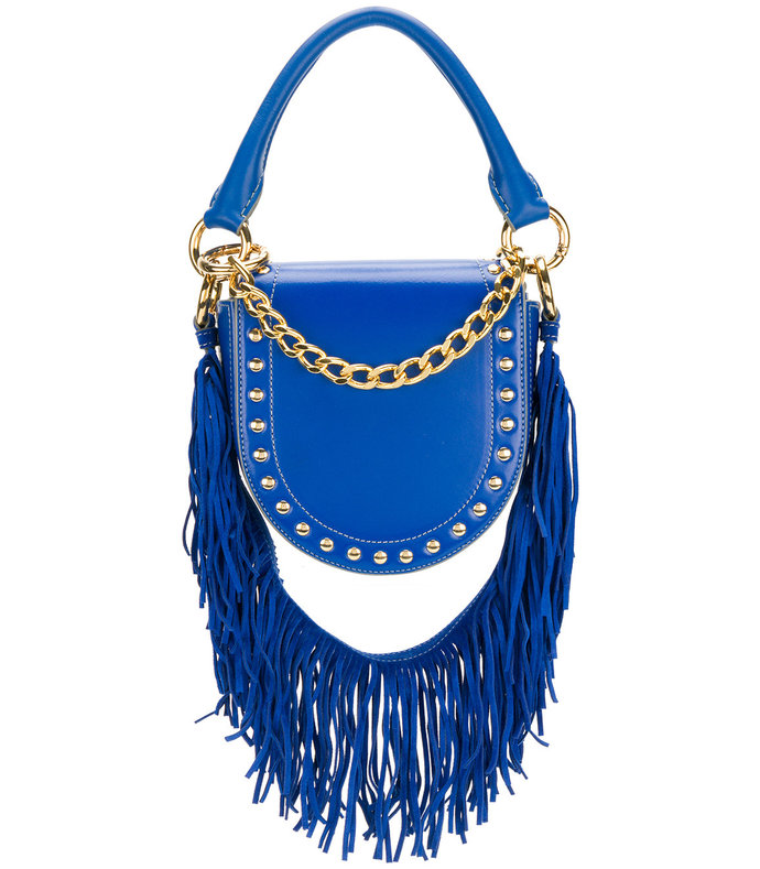 blue mini horse studded fringed strap shoulder bag