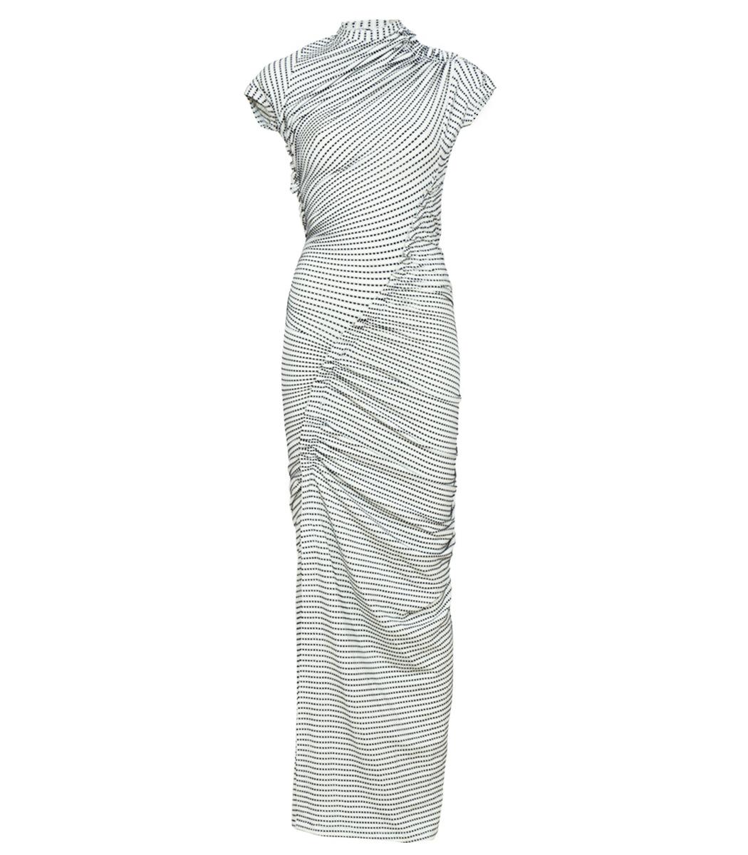 Atlein Black White Polka Dot Dress