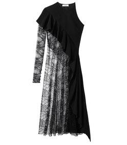 black asymmetrical lace top