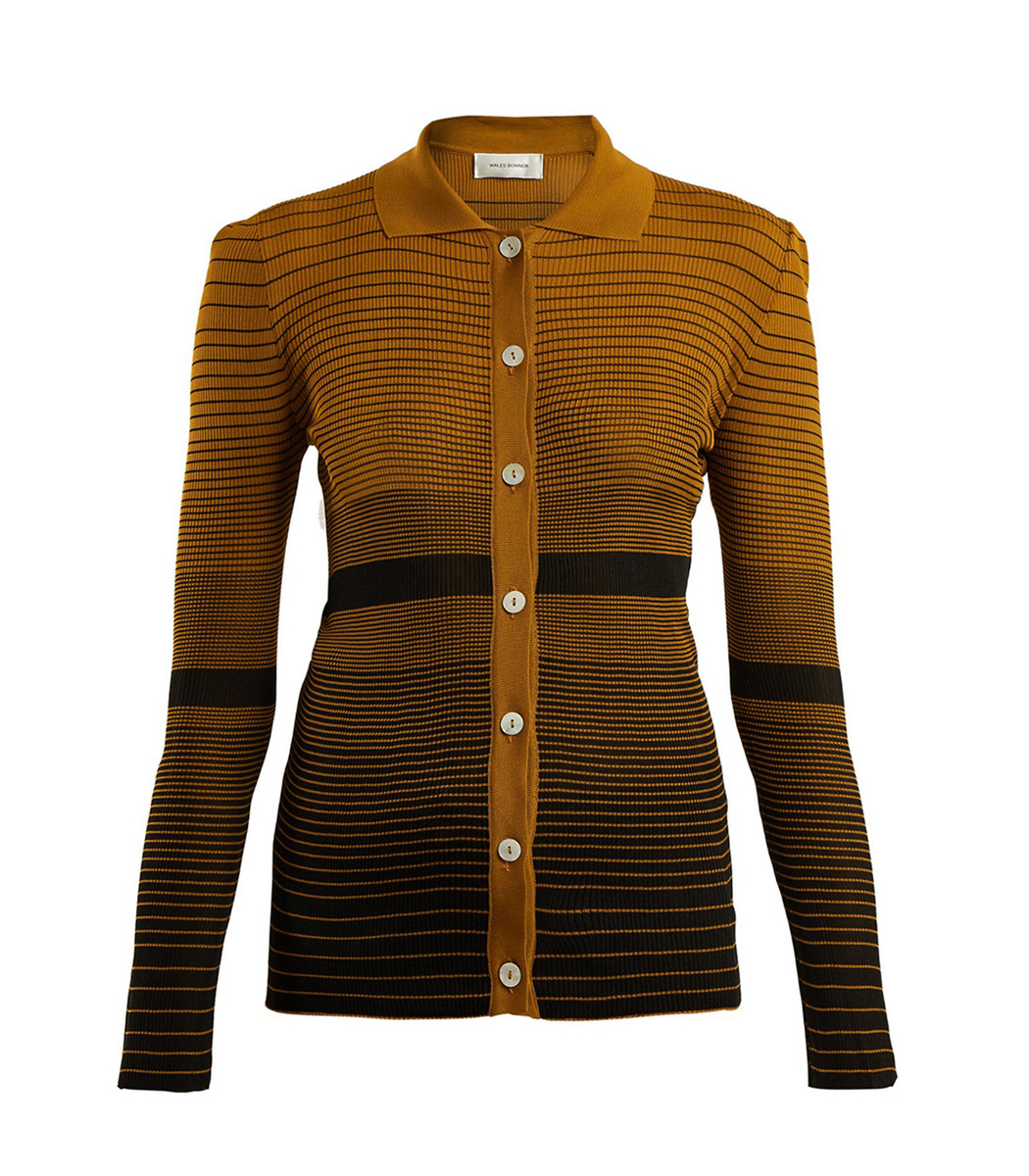 Wales Bonner Yellow/Black Spread Collar Striped Jacquard Cardigan