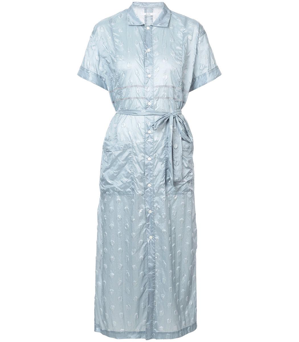 Julien David Blue Crinkled Polka Dot Shirt Dress