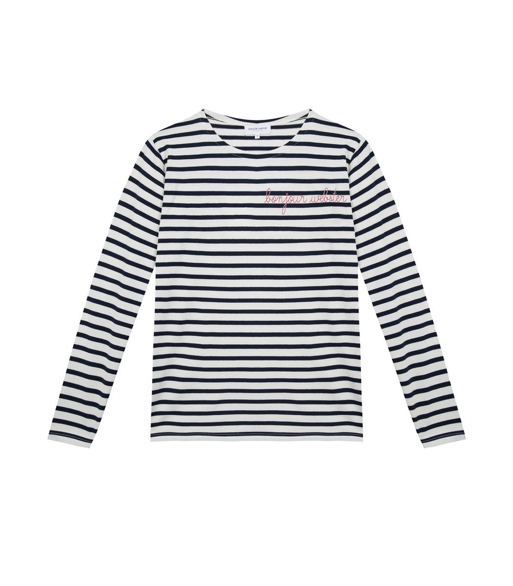 White/Blue Bonjour New York Stripped Long Sleeve Top in Black/White