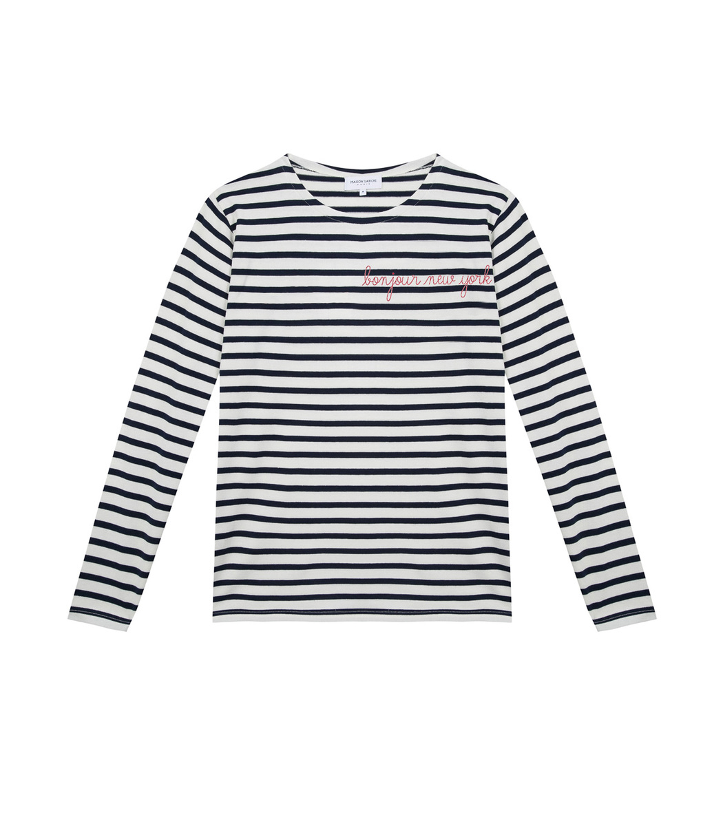 Maison Labiche White/Blue Bonjour New York Stripped Long Sleeve Top