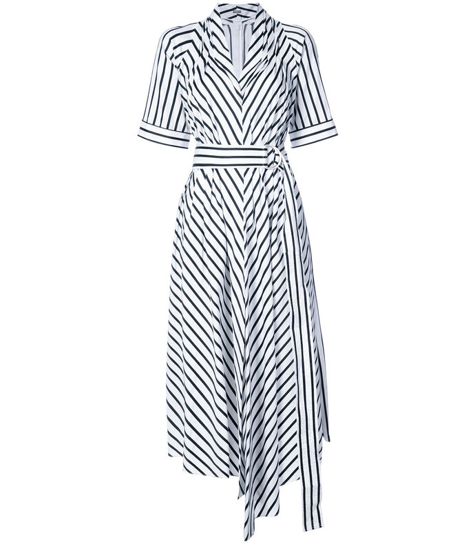 white/black striped asymmetrical belted dress