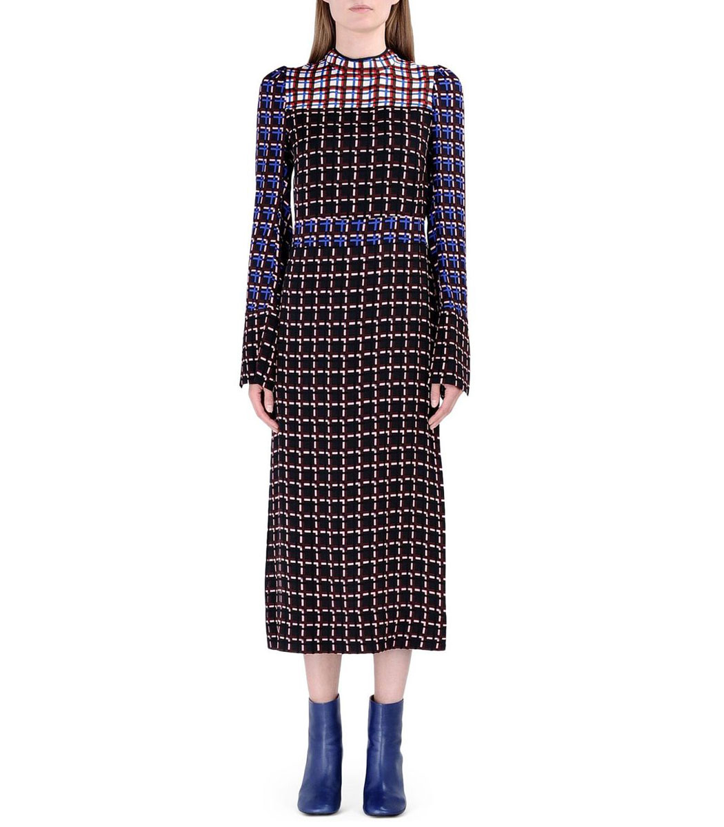 ShopBazaar Marni Plaid Print Crêpe Midi Dress FRONT