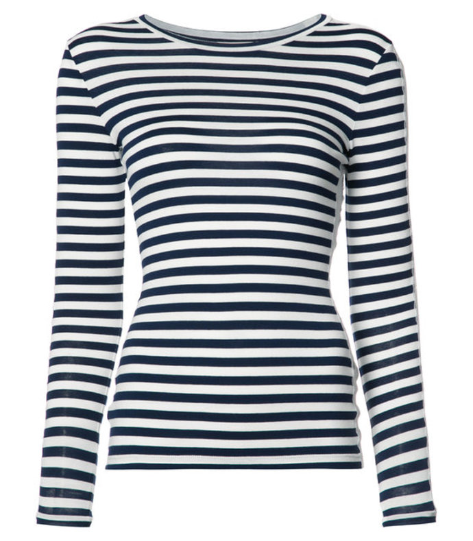 navy blue stripe top