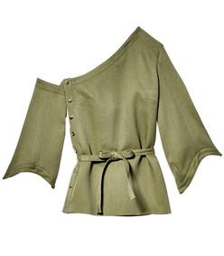 army green detachable sleeve wrap top