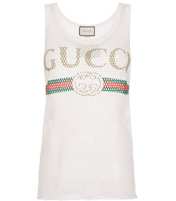 white fake logo tank top