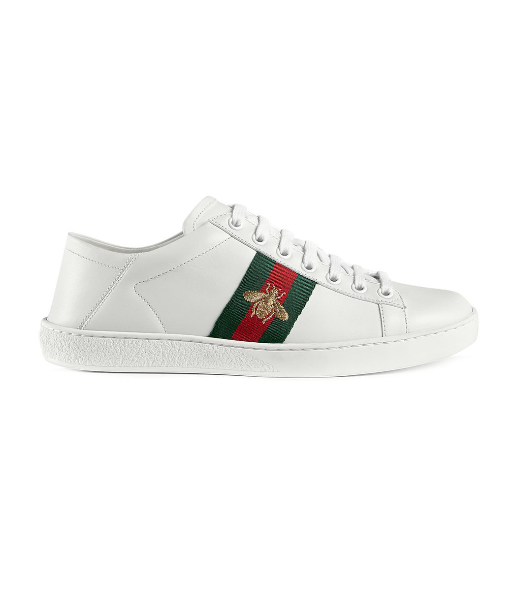 47222b25bc3 Gucci Ace Embroidered Leather Collapsible-Heel Sneakers In White