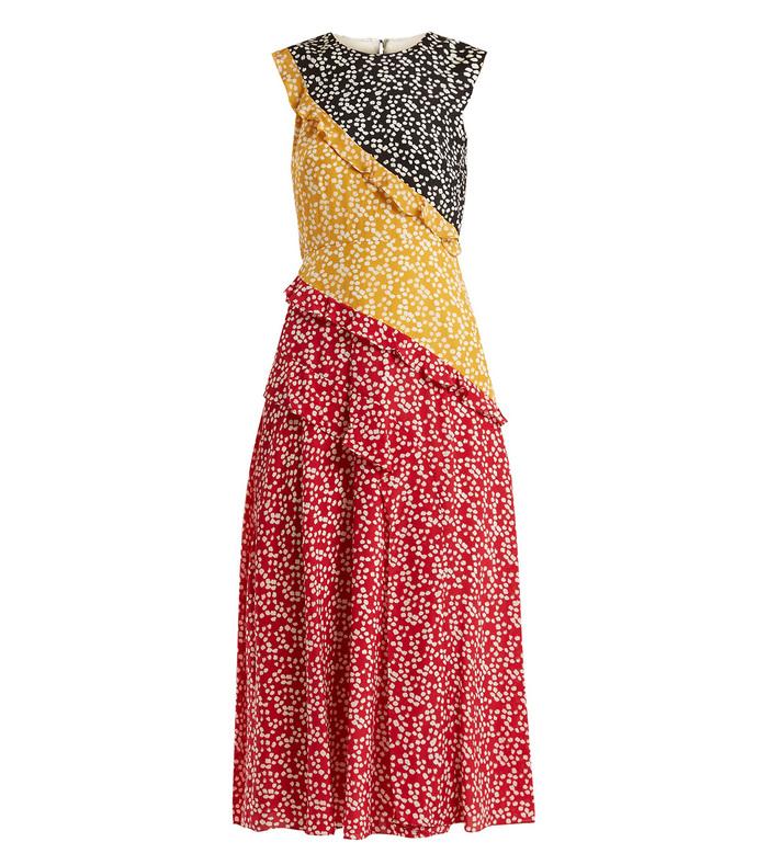 multicolor agnes knot print silk crepe de chine dress