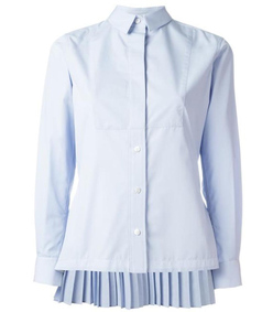 light blue pleated rear shirt