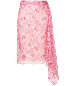 pink lace asymmetric skirt
