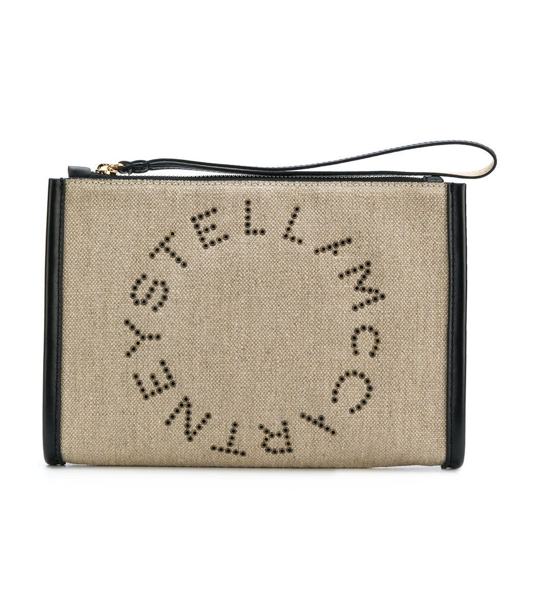 Sunnylife Brown Linen Canvas Logo Clutch Bag