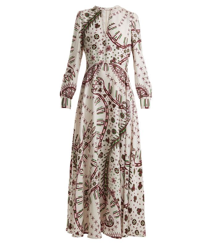 leopard-print crepe dress