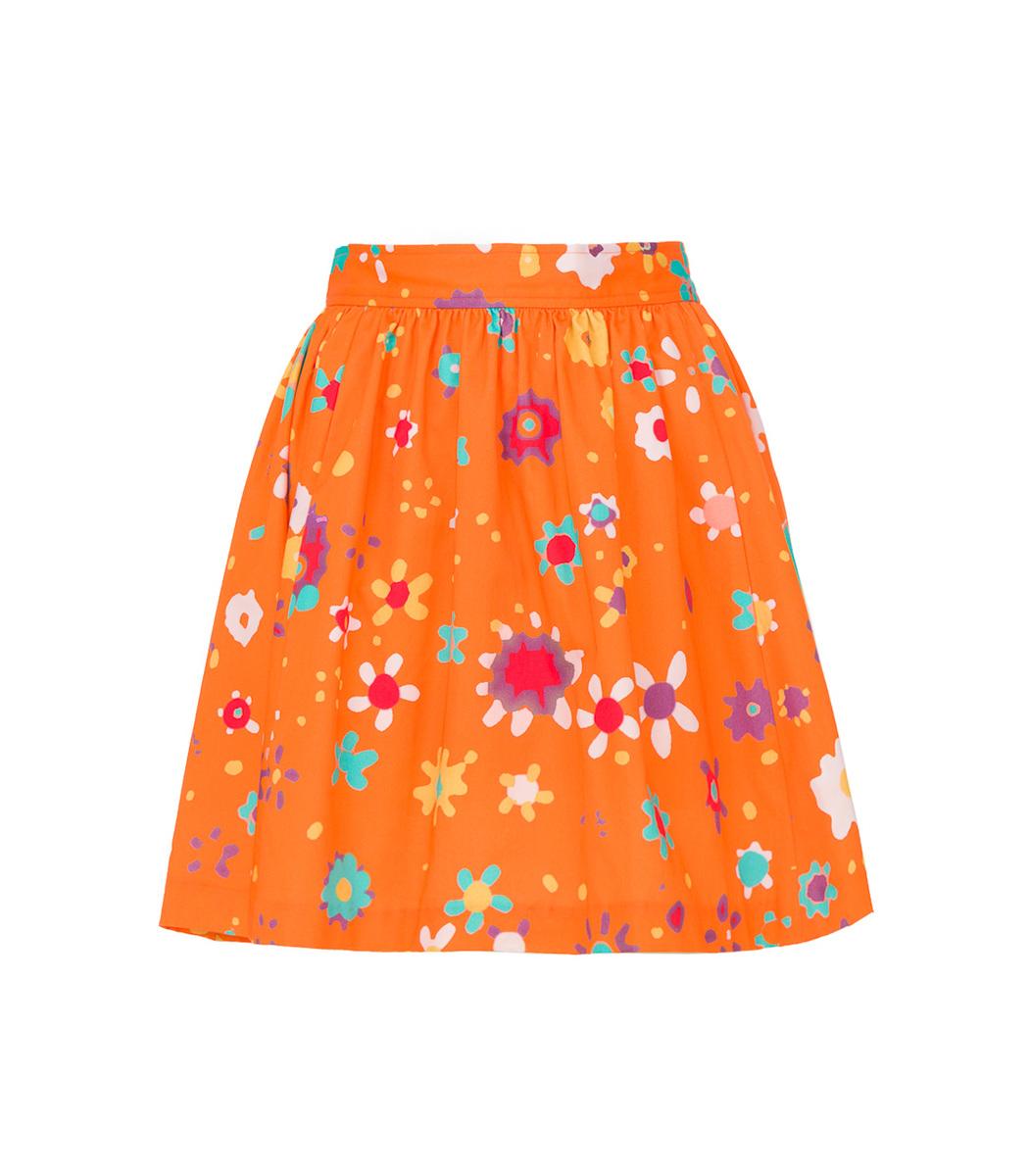 Lhd Orange Raleigh Printed Mini Skirt
