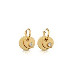 gold twin disc earrings
