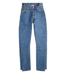 blue high waisted denim jeans
