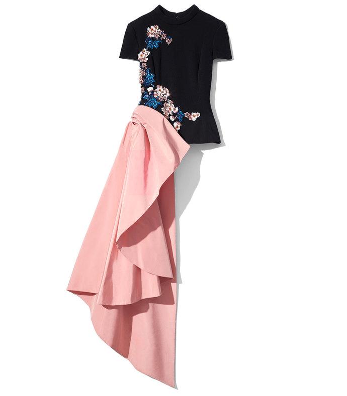 black & rose floral drape top