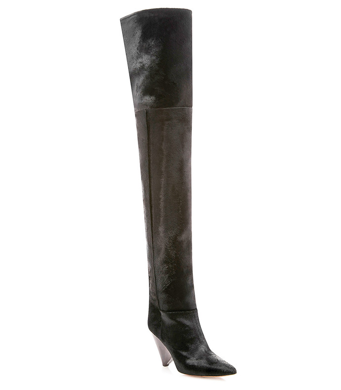 black pony hair knee boot