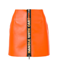 orange handle leather mini skirt