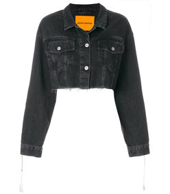 black cropped raw edge denim jacket