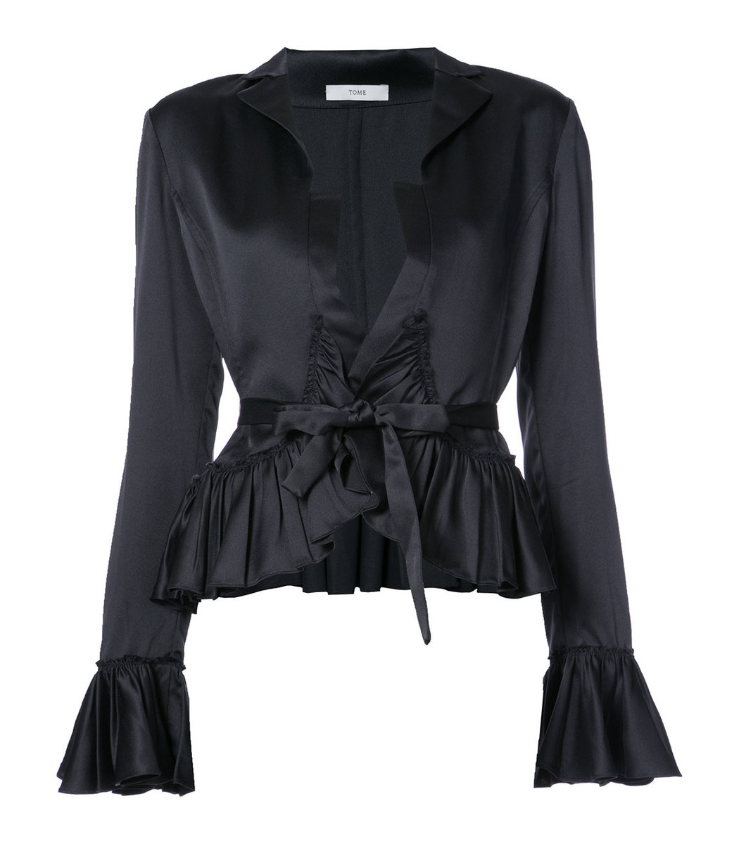 Tome Black Tie Blouse With Frills