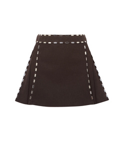 brown embellished cotton canvas mini skirt