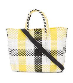 multicolor check tote bag