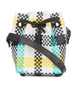 multicolor woven check bucket bag
