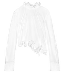white asymmetric trim top