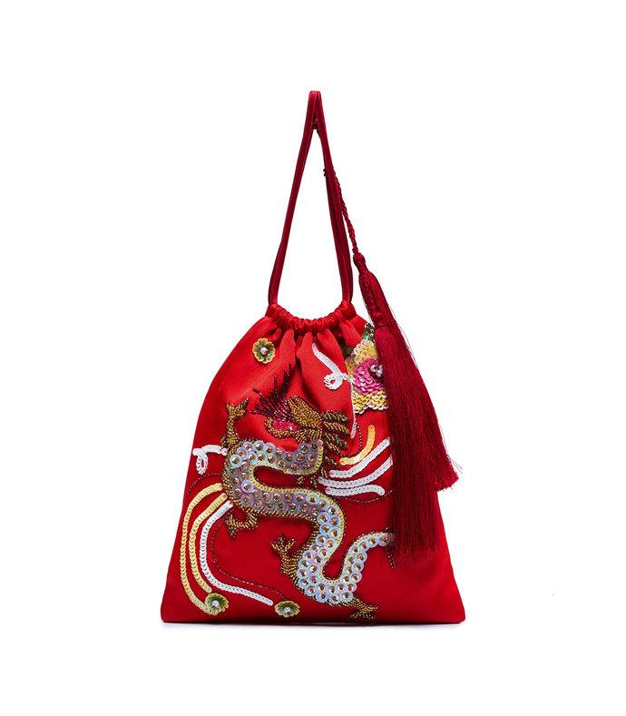 red sequin dragon bracelet bag