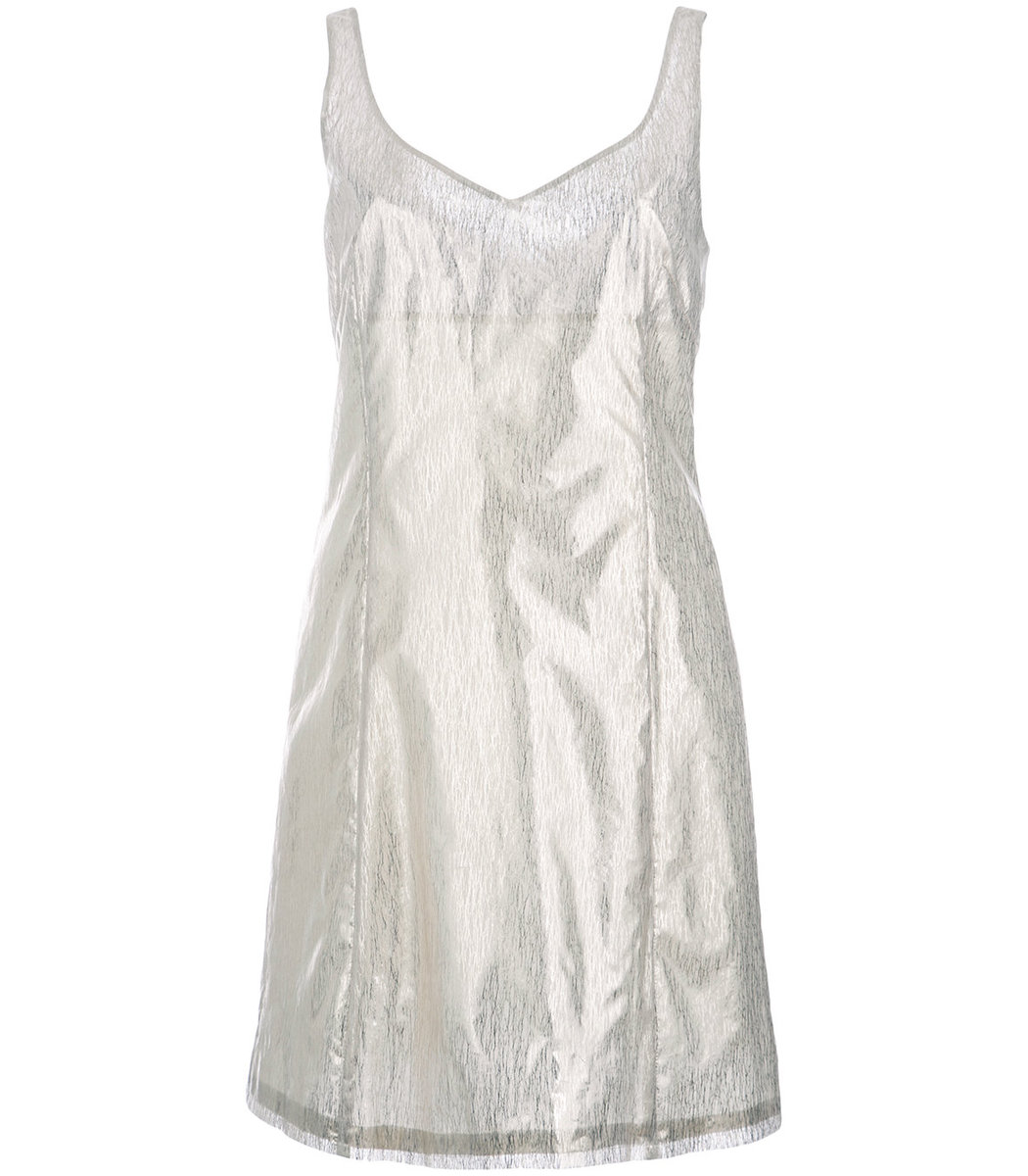 Julien David Silver Round Neck Fitted Cocktail Dress