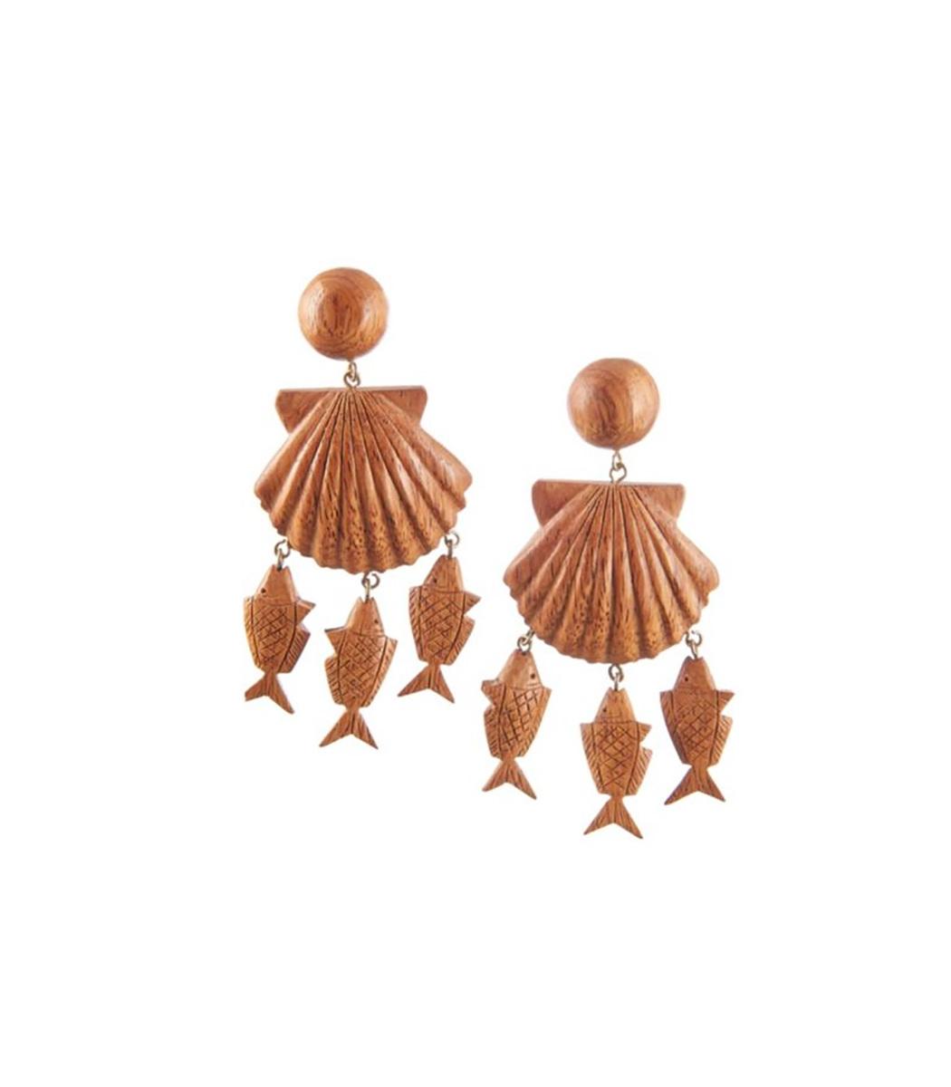 Rebecca De Ravenel Brown Delphine Wood Charm Drop Earrings