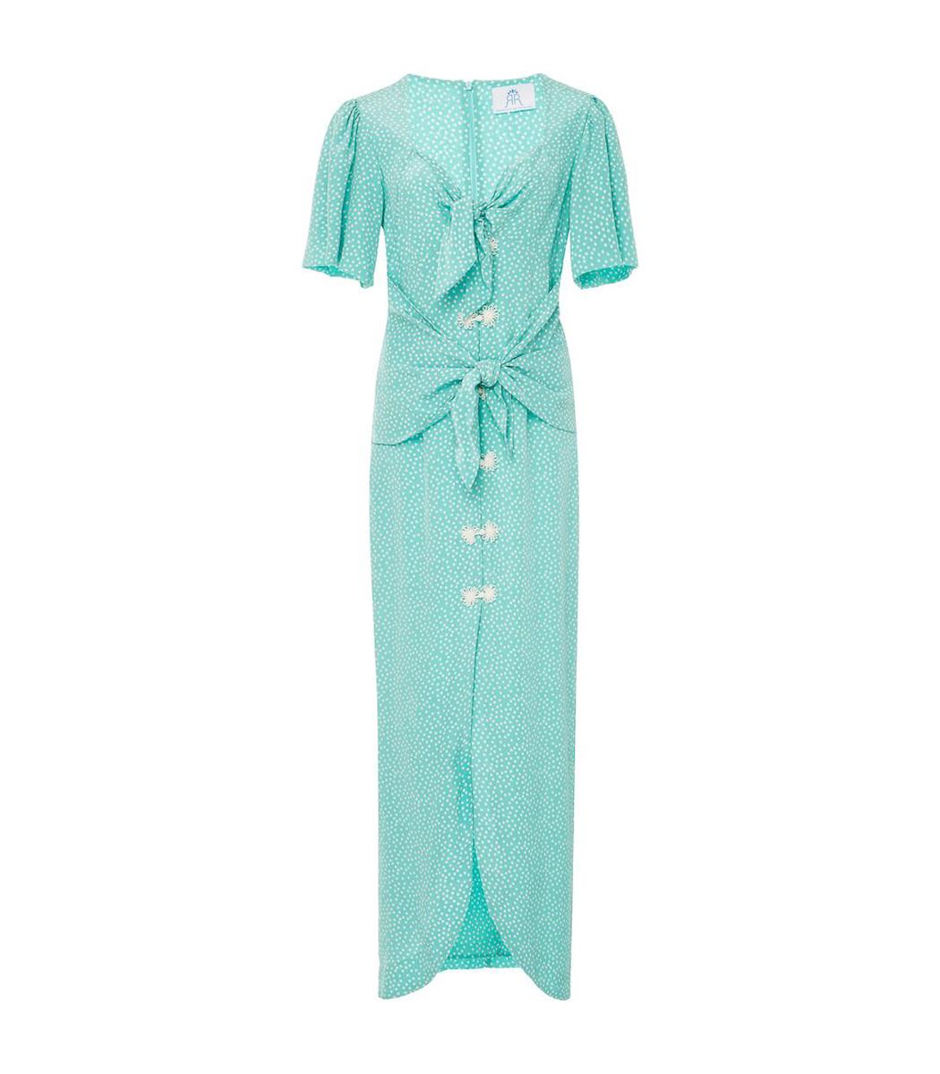 Rebecca De Ravenel Blue Zaza Silk Midi Dress