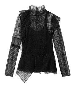 black lace patchwork blouse