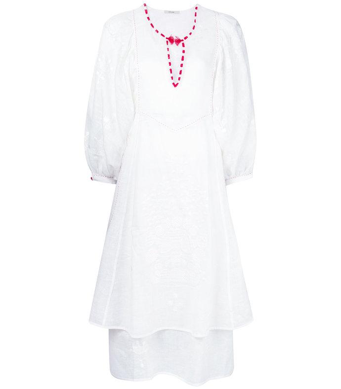 White Peacock Midi Dress 2268144863290447030