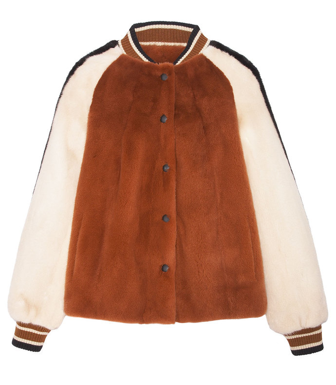 the boyfriend striped mink bomber jacket