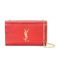 red textured-leather shoulder bag