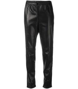 black leather straight leg trouser