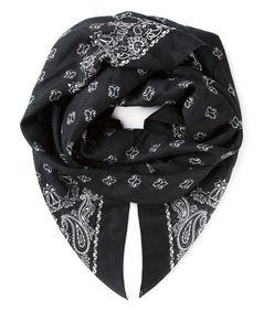 black & white paisley print scarf