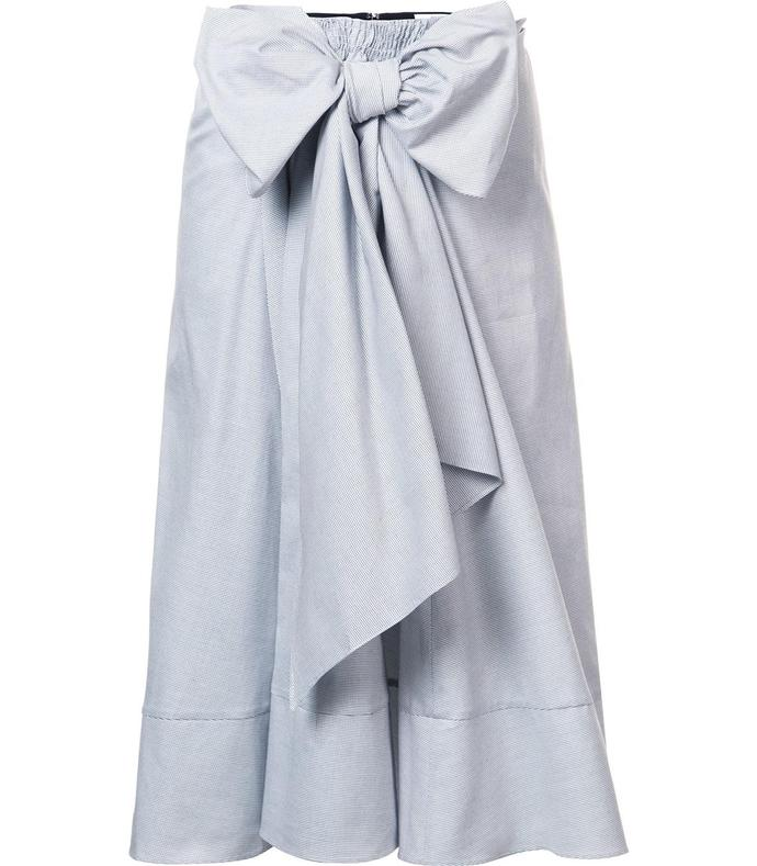 black 'dot pique bow front' skirt