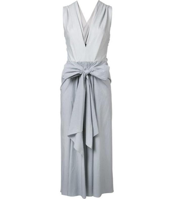 blue thin stripe bow front dress