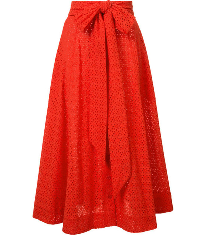 red bow detail pleated skirt