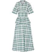 white & green 'bugle boy' maxi dress