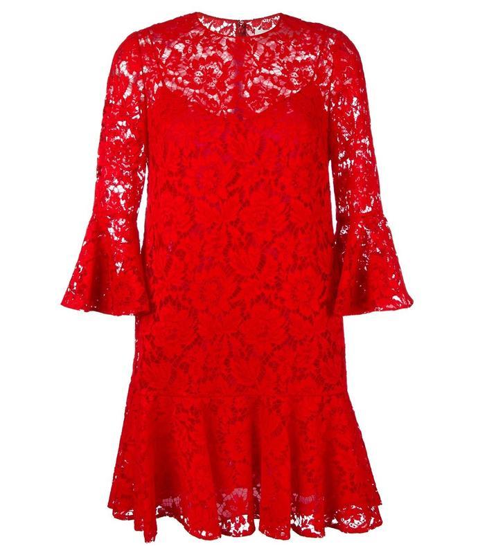 red ruffled lace mini dress