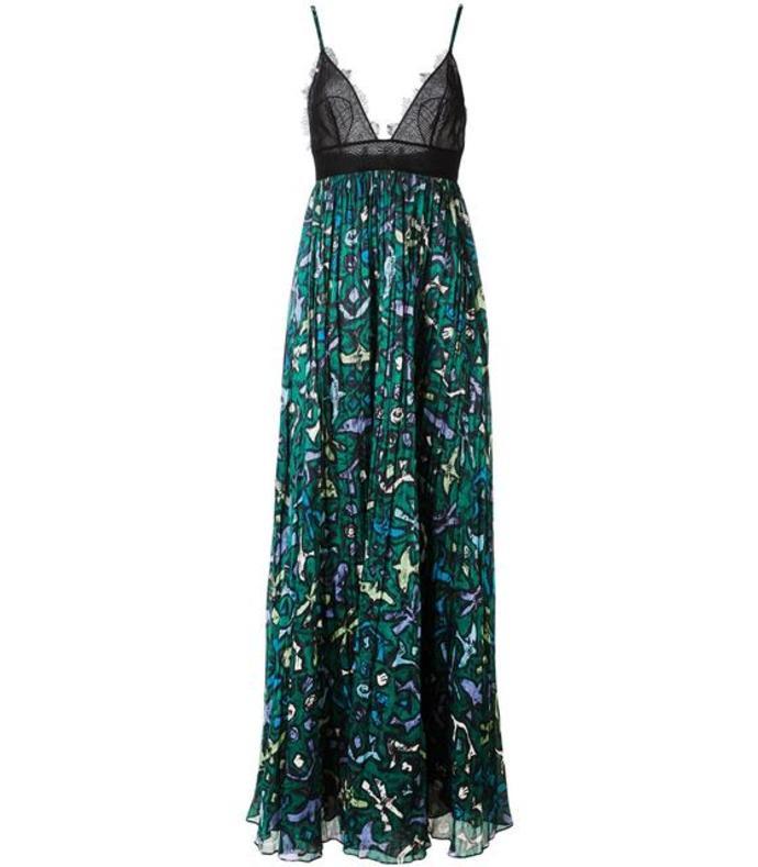 green printed evening dress