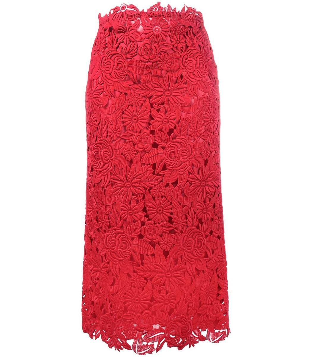 Valentino Floral Lace Skirt - Red Scalloped Hem Skirt