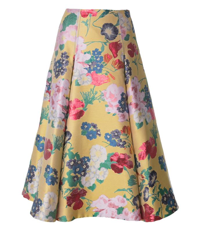 yellow romantic garden brocade skirt