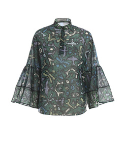 green abstract print blouse
