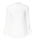 white ruffled sleeve shirt